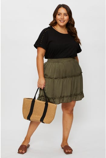 Plus Satin Frill Hem Short Skater Skirt