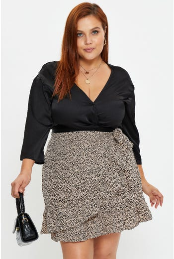 Plus Geo Print Frill Detail Wrap Skirt