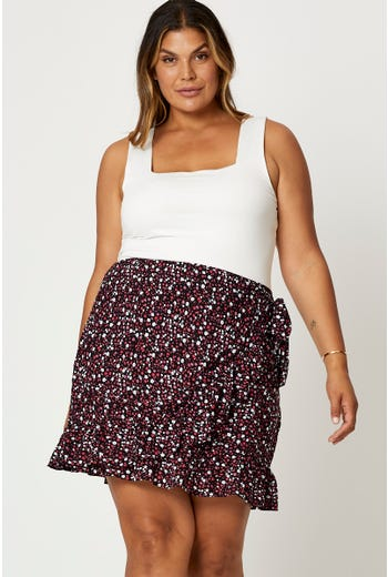 Plus Floral Print Frill Detail Wrap Skirt