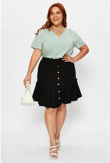 Plus High Waist Linen Blend Frill Detail Skater Sk
