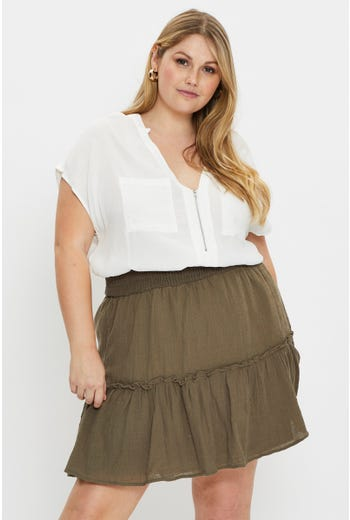 Plus High Waist Linen Blend Frill Detail Skirt