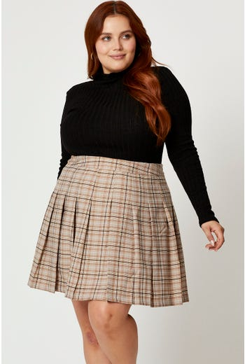 Plus High Waist Check Pleated Tennis Skater Skirt