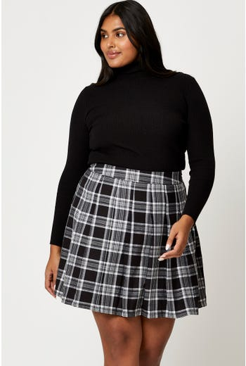 Plus Check Pleated Tennis Mini Skirt