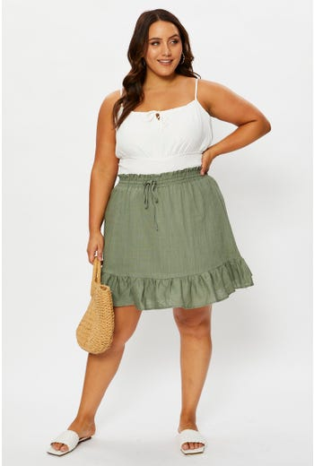 Plus High Waist Linen Look Elastic Waist Frill Hem