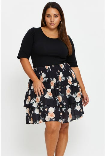 Plus Floral Print Ruched Mini Skirt