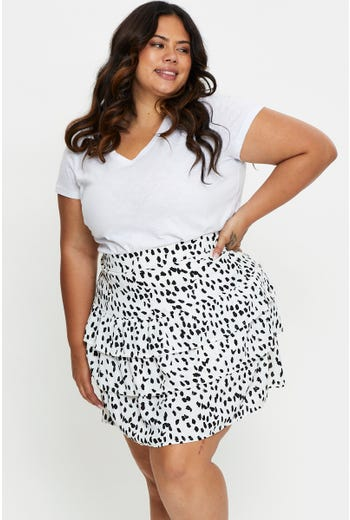Plus Geo Print Tiered Skater Skirt