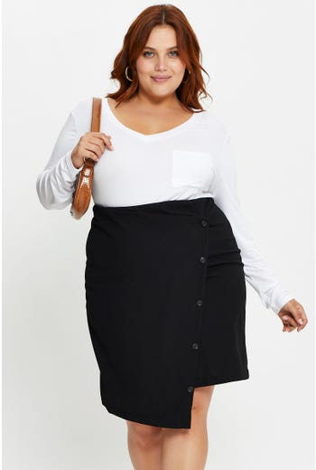 Plus Asymmetrical Button Detail A-Line Skirt