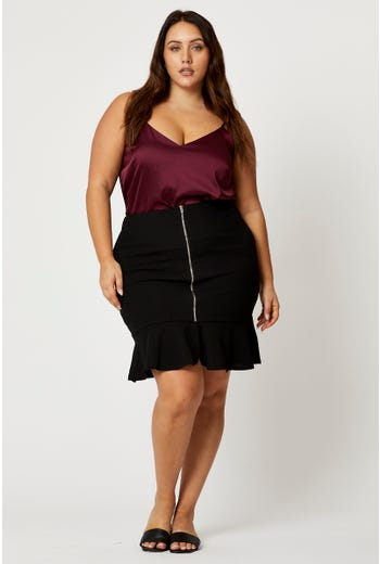 Plus Zipper Front Peplum Hem Skirt
