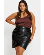 Plus Faux Leather Ruched Overlap Mini Skirt