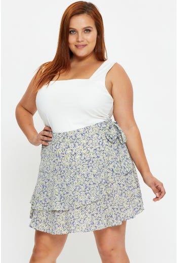Plus Floral Print Wrap Skater Skirt