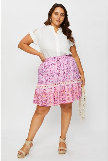 Plus Floral Print Frill Detail Short Skater Skirt
