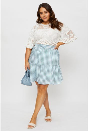 Plus Check Print Frill Detail Short Skater Skirt