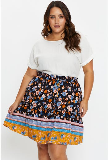 Plus High Waist Boho Print Frill Skirt