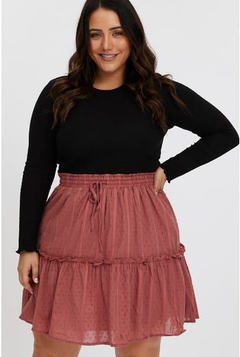 PLUS FRILL DETAIL TEXTURED DOT SKATER SKIRT