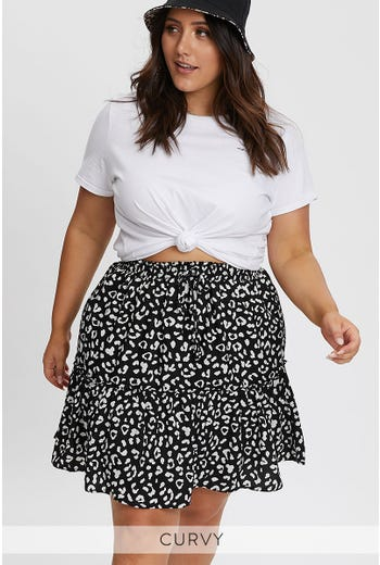 PLUS ANIMAL PRINT SKATER SKIRT