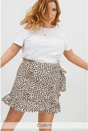 PLUS MIXED DOT PRINT FRILL HEM WRAP SKIRT