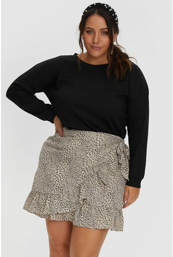 PLUS ANIMAL PRINT WRAP SKIRT