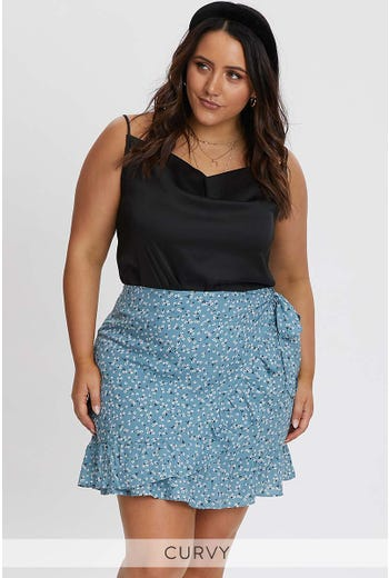 PLUS FLORAL PRINT WRAP SKIRT