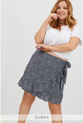 PLUS DITSY WRAP SKIRT