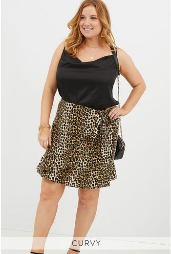 PLUS LEOPARD WRAP SKIRT