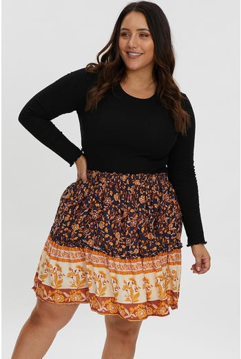 PLUS BOHO BORDER PRINT SKATER SKIRT