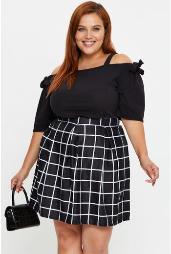 Plus Gingham Tennis Skirt