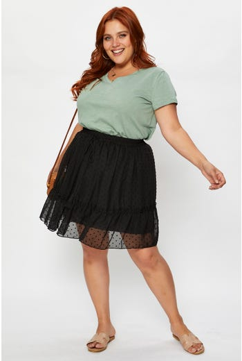 Plus Tiered Swiss Dot Mini Skirt
