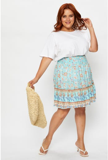 Plus Boho Print Frill Detail Skirt