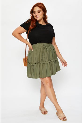 Plus Frill Detail Skirt