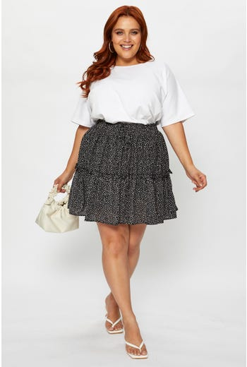 Plus Polka Dot Print Frill Detail Skirt