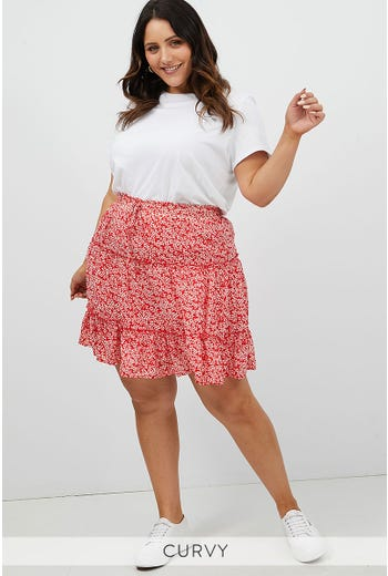 PLUS DITSY FLORAL DOUBLE FRILL SKATER SKIRT
