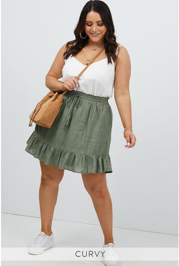PLUS FRILL HEM SKATER SKIRT