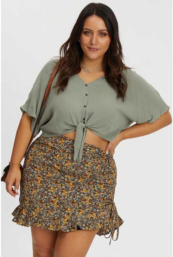 PLUS FLORAL PRINT SIDE TIE RUCHED SKIRT