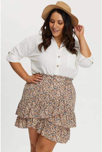 PLUS DITSY FLORAL ASYMMETRIC FRILL SKIRT