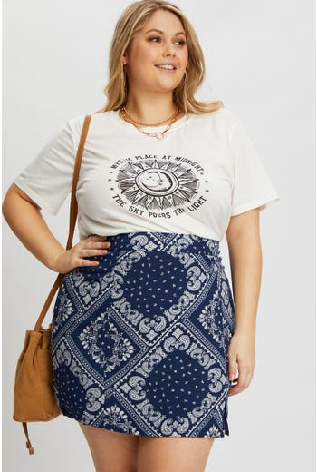 Plus Bandana Print Front Split A-Line Mini Skirt