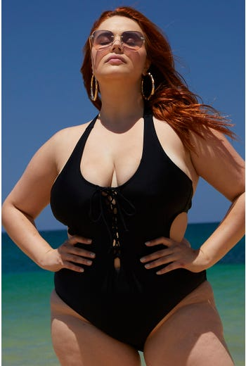 Plus Lace Up One Piece Swimsuit