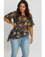 Plus Floral Print Tie Up Ruffle Top