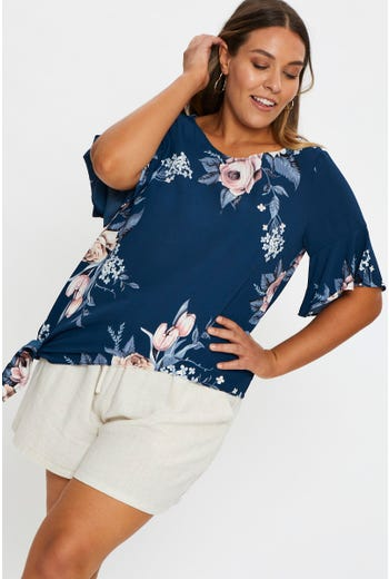Plus Ruffle Sleeve Floral Tie Up Top