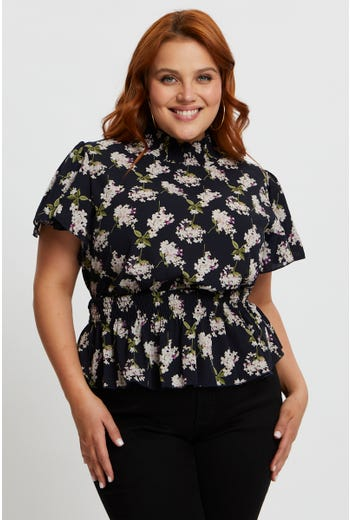 Plus Floral Waist Shirred Peplum Top
