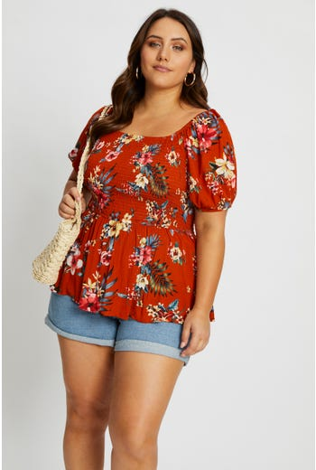 Plus Floral Print Shirred Peplum Top