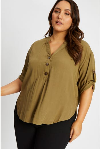 Plus Linen Half Sleeve Shirt Top