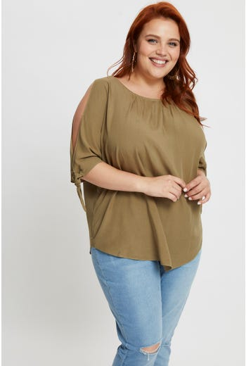 Plus Linen Cold Shoulder Top