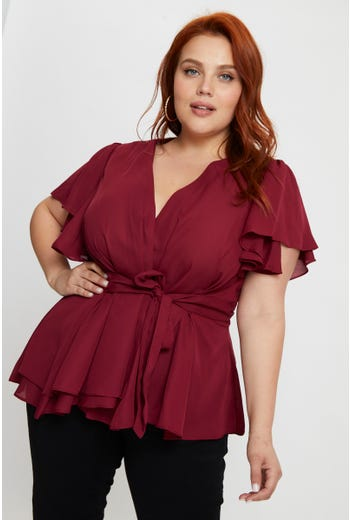 Plus Wing Sleeve Wrap Blouse