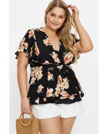 Plus Wing Sleeve Floral Wrap Blouse