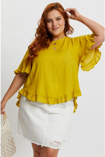 Plus Short Sleeve Linen Ruffle ShellTop