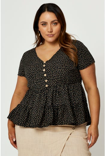 Plus Ditsy Floral Tiered Button Front Top