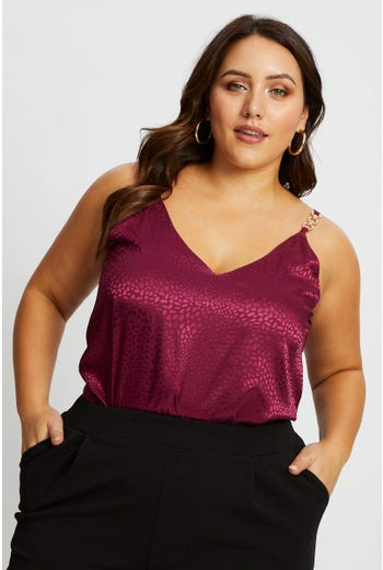 Plus Embellished Strap Satin Cami Top