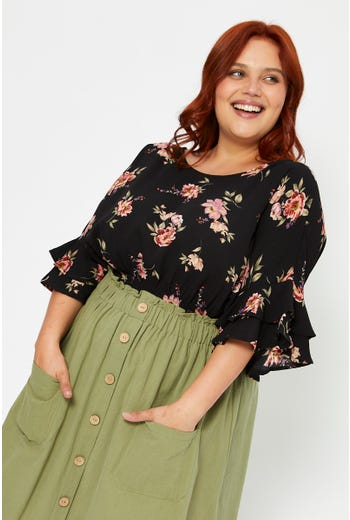 Plus Ruffle Sleeve Floral Print Waist Shirred Pepl
