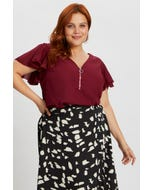 Plus Short Sleeve Zip Front Ruffle Sleeve Shell To