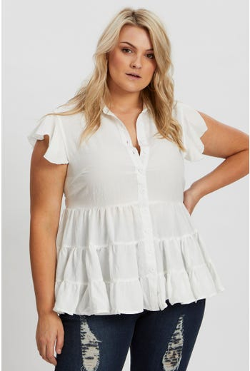 Plus Sleeveless Tiered Frill Sleeve Shirt Top